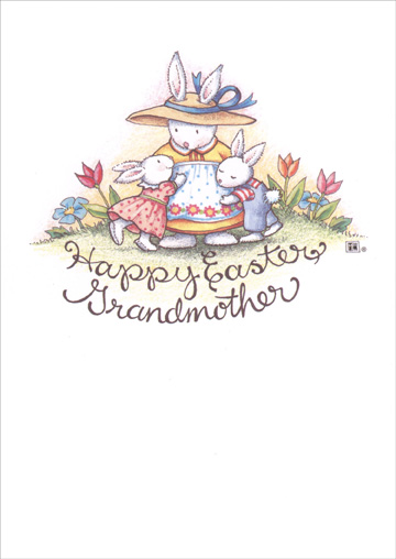 Rabbit with Bunnies (1 card/1 envelope) - Easter Card - FRONT: Happy Easter Grandmother  INSIDE: from all your honey bunnies.