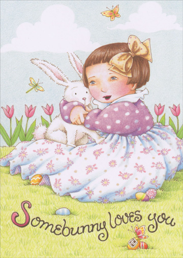 Somebunny Loves You (1 card/1 envelope) Recycled Paper Greetings Easter Card - FRONT: Somebunny loves you  INSIDE: �and wishes you a Happy Easter.
