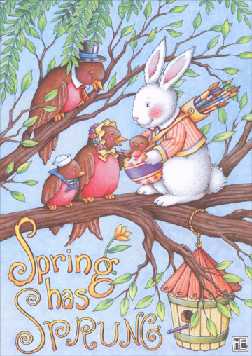 Spring Has Sprung (1 card/1 envelope) Recycled Paper Greetings Easter Card - FRONT: Spring has Sprung  INSIDE: �and the joy of the season has just begun.