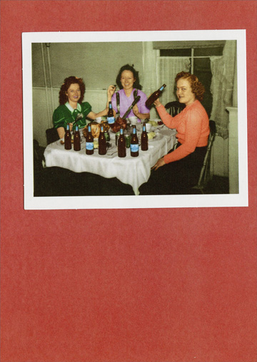 Women with Beer  (1 card/1 envelope) - Christmas Card  INSIDE: Now that's what I call Christmas dinner! Merry Christmas