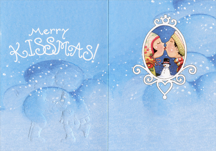 Blizzard (1 card/1 envelope) Recycled Paper Greetings Christmas Card - FRONT: If a kiss was a snowflake, I'd send you a BLIZZARD!  INSIDE: Merry KISSMAS!