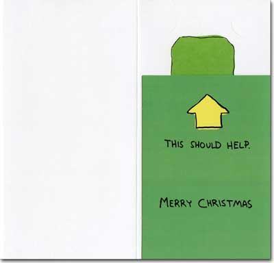 Think Green Money Holder (1 card/1 envelope) Recycled Paper Greetings Christmas Card - FRONT: At Christmas, we should think green!  INSIDE: This should help. Merry Christmas