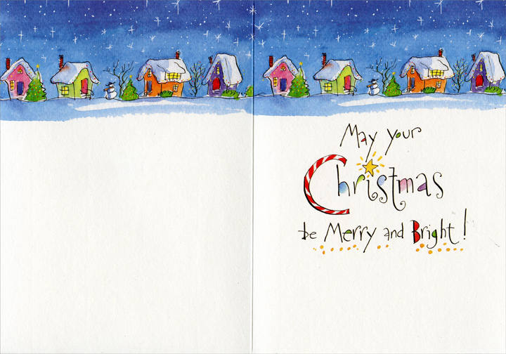 Xmas Lights (1 card/1 envelope) Recycled Paper Greetings Christmas Card - FRONT: Merry Christmas!  INSIDE: May your Christmas be Merry and Bright!