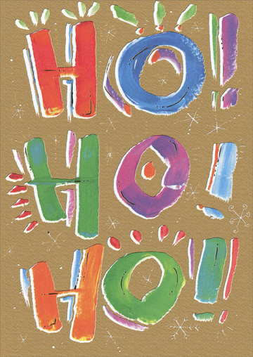 Gold Ho Ho Ho (1 card/1 envelope) Recycled Paper Greetings Christmas Card - FRONT: Ho! Ho! Ho!  INSIDE: it's Christmas!
