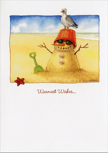 Sand snowman warm weather christmas card by recycled paper greetings m4hsunfo