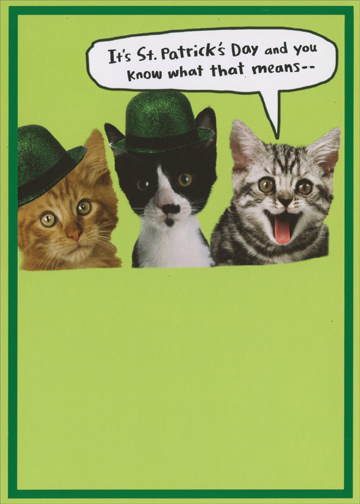 Kegger Funny Cat St Patricks Day Card Recycled Paper Greetings