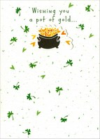 Pot of Gold Wishes (1 card/1 envelope) Recycled Paper Greetings St. Patrick's Day Card