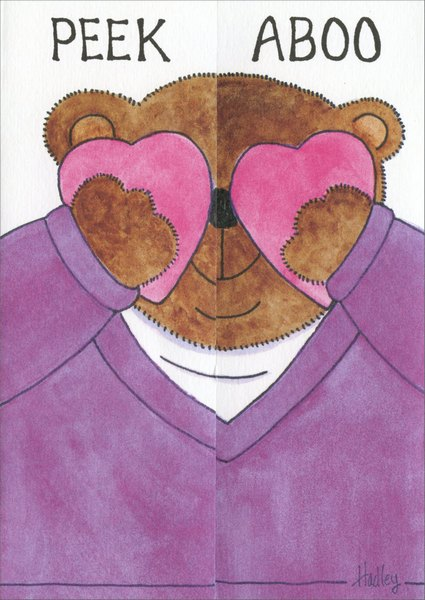 Peek a Boo (1 card/1 envelope) Valentine's Day Card - FRONT: Peek a Boo  INSIDE: I love you - Happy Valentine's Day - To - From