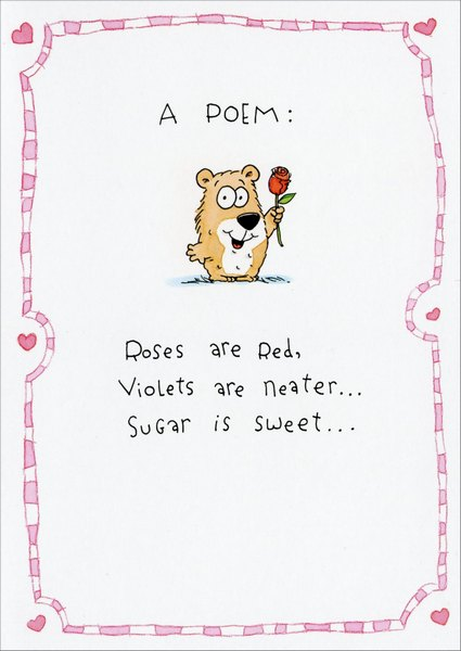 Roses Are Red (1 card/1 envelope) Valentine's Day Card - FRONT: A Poem: Roses are Red, Violets are neater.. Sugar is sweet..  INSIDE: But my Grandma's sweeter. Happy Valentine's Day, Grandma