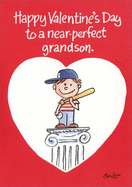 Near Perfect Grandson (1 card/1 envelope) Valentine's Day Card - FRONT: Happy Valentine's Day to a near-perfect Grandson.  INSIDE: If you lived nearer, you'd be perfect.