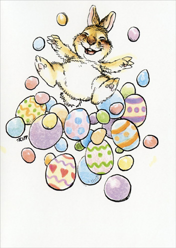 Bunny/Easter Eggs (1 card/1 envelope) Easter Card - FRONT: No Text  INSIDE: Happy Easter!