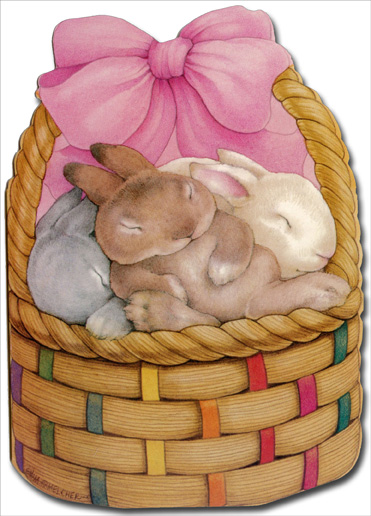 Bunny Basket (1 card/1 envelope) Mary Melcher Easter Card - FRONT: No Text  INSIDE: Sending you a Basketful of Love!  Happy Easter