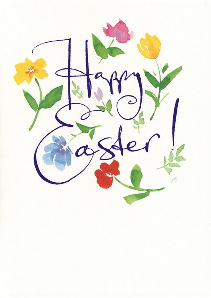 Flower Letter (1 card/1 envelope) Easter Card - FRONT: Happy Easter!  INSIDE: With Love to you!