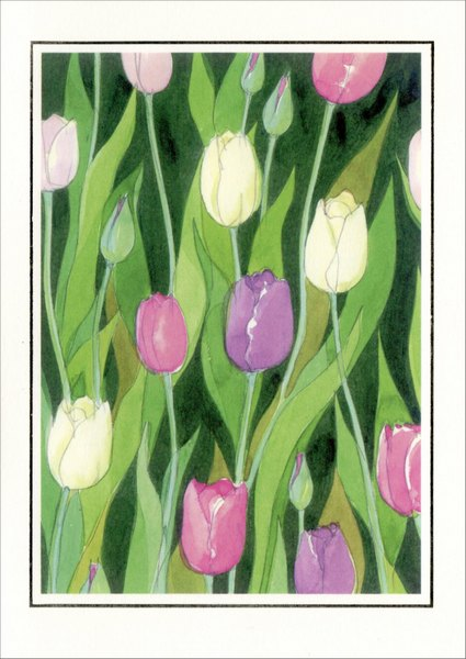 Tulips (1 card/1 envelope) Easter Card - FRONT: No Text  INSIDE: Happy Easter
