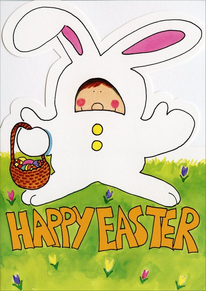 Kid in Bunny Suit (1 card/1 envelope) Easter Card - FRONT: Happy Easter  INSIDE: and a whole basket of hugs