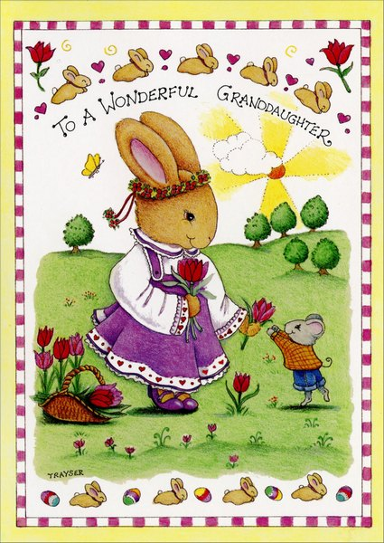 Brighten the World (1 card/1 envelope) Easter Card - FRONT: To a Wonderful Granddaughter  INSIDE: You brighten the world around you!  Happy Easter!