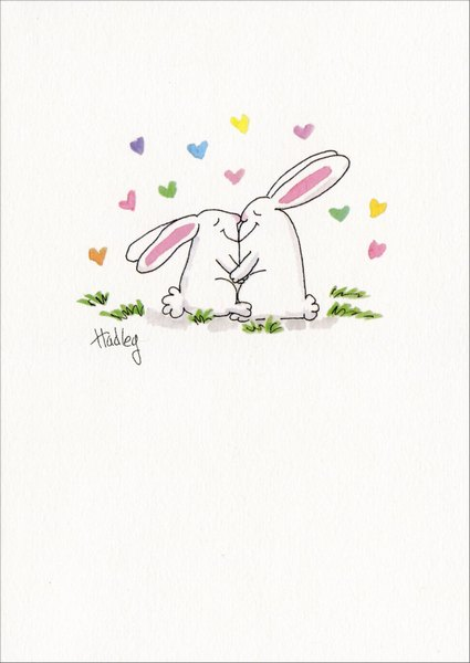 Two Bunnies Kissing (1 card/1 envelope) - Easter Card - FRONT: No Text  INSIDE: Happy Easter to my Honey Bunny