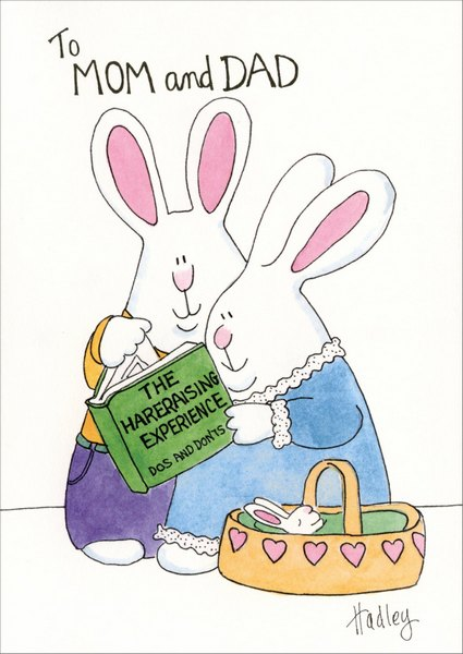 Off Spring (1 card/1 envelope) Funny Easter Card - FRONT: To MOM and DAD  (The Hareraising Experience Do's and Don'ts)  INSIDE: Hoppy, Hoppy Easter from your offspring.