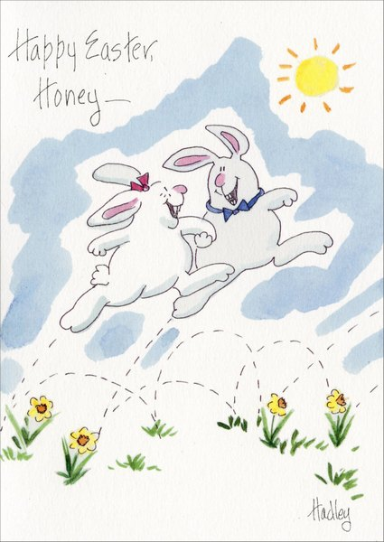 Zing in My Spring (1 card/1 envelope) Easter Card - FRONT: Happy Easter, Honey -  INSIDE: Being with you puts the Zing in my Spring!
