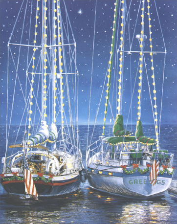 Fair Winds/Calm Seas (20 cards & 20 envelopes) - Boxed Holiday Cards - FRONT: No Text  INSIDE: Wishing you fair winds for the Holidays, and calm seas for the New Year.