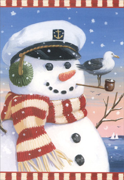 Captain Snowman (1 card & 1 envelope) Nautical Christmas Card - FRONT: No Text  INSIDE: A warm and friendly wish of cheer for the Holidays and the coming year!