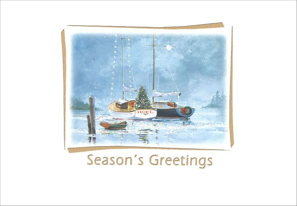Two Sailboats (1 card/1 envelope) - Holiday Card - FRONT: Season's Greetings  INSIDE: Wishing you a Joyful Holiday and a happy and peaceful New Year