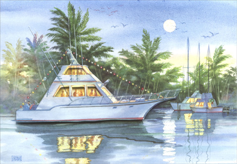 Yacht (1 card/1 envelope) - Holiday Card - FRONT: No Text  INSIDE: May the warm glow of the Holiday Season bring you peace, hope and lasting joy.