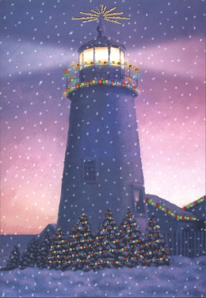 Lighthouse with Foil Lights (1 card/1 envelope) Nautical Holiday Card - FRONT: No Text  INSIDE: Wishing you joys that linger long after the holidays are through.
