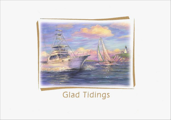 Glad Tidings Glitter (15 cards/16 envelopes) Red Farm Studios Nautical Boxed New Year Cards - FRONT: Glad Tidings  INSIDE: All good wishes for a wonderful new year