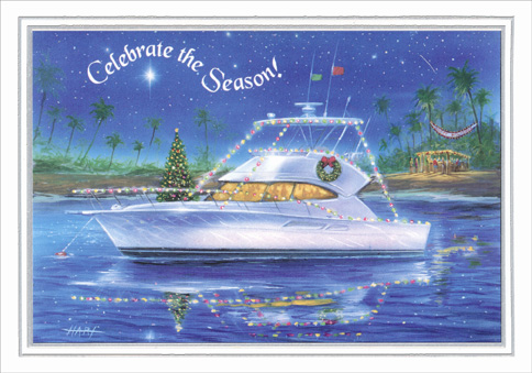 Yacht Celebrate the Season (1 card/1 envelope) - Christmas Card - FRONT: Celebrate the Season!  INSIDE: A wish for a warm and wonderful Holiday Season and a bright and beautiful New Year.
