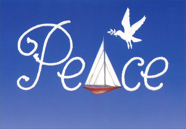 Peace Sailboat (1 card/1 envelope) Red Farm Studios Nautical Christmas Card - FRONT: Peace  INSIDE: Warmest greetings for a happy and peaceful holiday season.