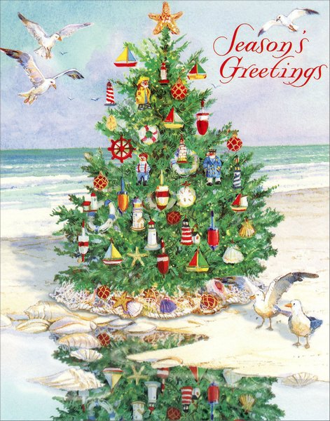 Tree on Beach (20 cards/21 envelopes) - Boxed Christmas Cards - FRONT: Season's Greetings  INSIDE: Warmest wishes for a Merry Christmas and a happy New Year.