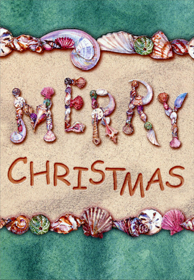 Merry Christmas Sea Shells (18 cards/18 envelopes) Red Farm Studios Warm Weather Boxed Christmas Cards - FRONT: Merry Christmas  INSIDE: May warmth fill your heart and home this Christmas