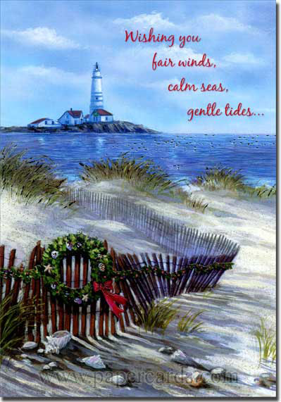 Beach Fence & Lighthouse (18 cards/18 envelopes) Red Farm Studios Coastal Boxed Christmas Cards - FRONT: Wishing you fair winds, calm seas, gentle tides…  INSIDE: …and smooth sailing for the year ahead.