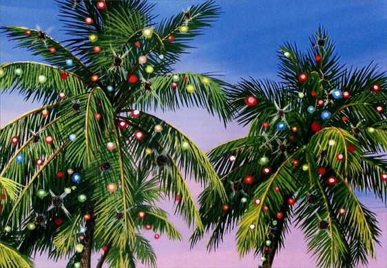 Palm Tree Lights (18 cards/18 envelopes) - Boxed Christmas Cards  INSIDE: Season's Greetings and best wishes for the New Year.