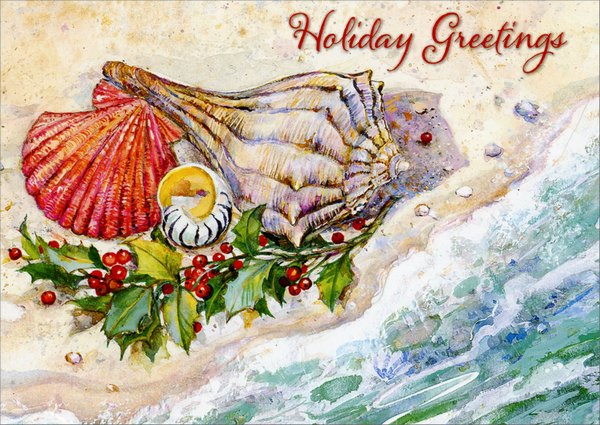 Shells on Beach (1 card/1 envelope) Red Farm Studios Warm Weather Christmas Card - FRONT: Holiday Greetings  INSIDE: Warmest greetings during the holidays and best wishes for the New Year.