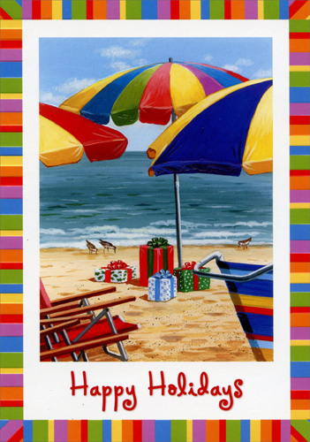 Colorful Beach Umbrellas (18 cards/18 envelopes) - Boxed Christmas Cards - FRONT: Happy Holidays  INSIDE: With many good wishes for the holidays and the year ahead.