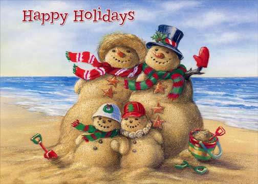 Beach Christmas Cards >> Details About Beach Snowman Family 18 Warm Weather Boxed Christmas Cards By Red Farm Studios