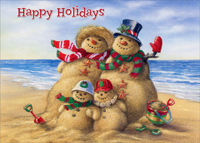 Beach Snowman Family (1 card/1 envelope) - Christmas Card - FRONT: Happy Holidays  INSIDE: May you enjoy a happy holiday filled with special gifts of love and friendship.