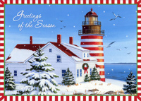 Lighthouse with Red and White Border (18 cards/18 envelopes) - Boxed Christmas Cards - FRONT: Greetings of the Season  INSIDE: May all of the joys of the season shed light onto a wonderful New Year.