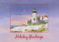 Holiday Greetings Lighthouse (18 cards/18 envelopes) Red Farm Studios Coastal Boxed Christmas Cards