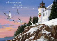 Beacon of Light (18 cards/18 envelopes) - Boxed Christmas Cards - FRONT: A beacon of light shines forth throughout the world�  INSIDE: �and greetings of the season bring happiness and hope.