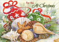 Ornaments and Shells (1 card/1 envelope) Red Farm Studios Warm Weather Christmas Card