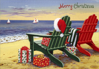 Red and Green Adirondack Chairs (1 card/1 envelope) - Christmas Card - FRONT: Merry Christmas  INSIDE: Best wishes for the Christmas season and every day of the coming year.