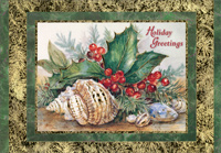 Holly and Shells (18 cards/18 envelopes) Red Farm Studios Boxed Christmas Cards