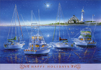 Sailboats and Yachts (18 cards/18 envelopes) - Boxed Christmas Cards - FRONT: Happy Holidays  INSIDE: Wishing you bright days, cozy nights and the warmth of the holiday season.