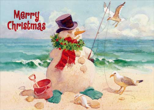 snowman on beach christmas card by red farm studios
