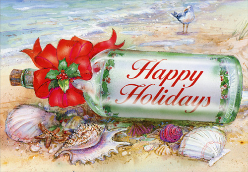 Beach Christmas Cards >> Details About Holiday Message In Bottle Red Farm Studios Box Of 18 Beach Christmas Cards