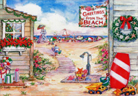 Greetings from the Beach (18 cards/18 envelopes) - Boxed Christmas Cards - FRONT: Greetings from the Beach  INSIDE: May you find happiness in every simple pleasure of the season.