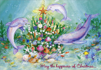 Three Dolphins (18 cards/18 envelopes) - Boxed Christmas Cards - FRONT: May the happiness of Christmas�  INSIDE: �swim right through the season and into the New Year!